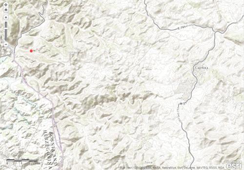 ESRI - Mapa Lokacija požara prema snimku MODIS Satelita