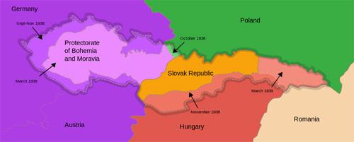 Izvor: wikipedia - Podela Čehoslovačke 1939.godine
