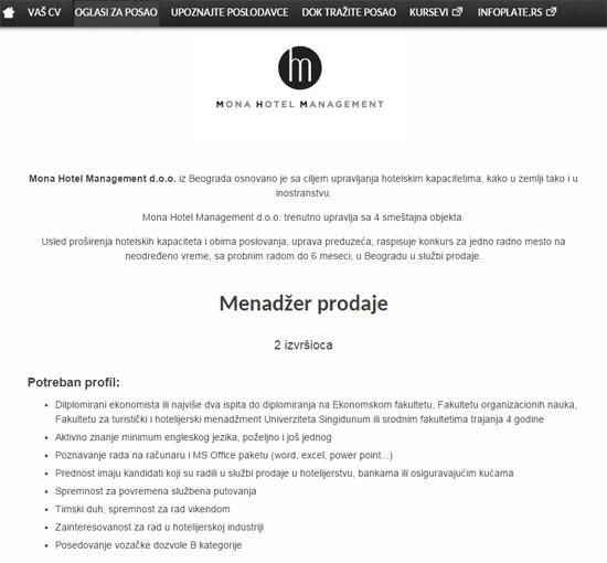 Menadžeri prodaje potrebni Mona Hotel Managementu