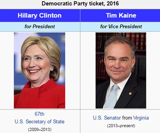 Hilari Klinton i Tim Kejn - Demokratska partija - izvor Wikipedia